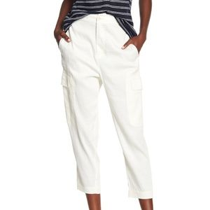 Vince Cream Cropped Linen Cargo Pants V336021267